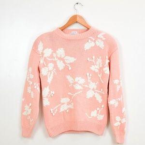 Vintage Pastel Pink Floral Hand Knit Sweater Med